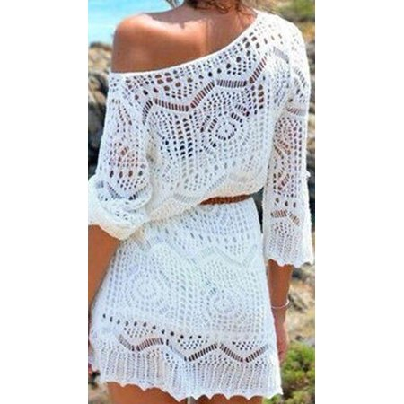 Belt Swimsuit ((without Belt)Women Ladies Lace Crochet Bikini Cover Up Swimwear Bathing Suit Summer Swimwear)