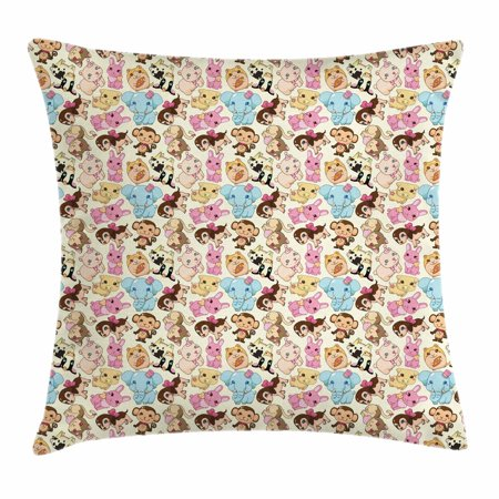 Cartoon Animal Throw Pillow Cushion Cover, Adorable Cute Mascots Colorful Animals Pig Elephant Dog Rabbit Joyful Nature, Decorative Square Accent Pillow Case, 18 X 18 Inches, Multicolor, by (Joyful Pig)