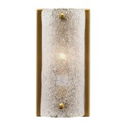 """8.25"""" Antique Brass Gold and Clear Textured Melted Ice Glass Moet Double Rounded Wall Sconce"""