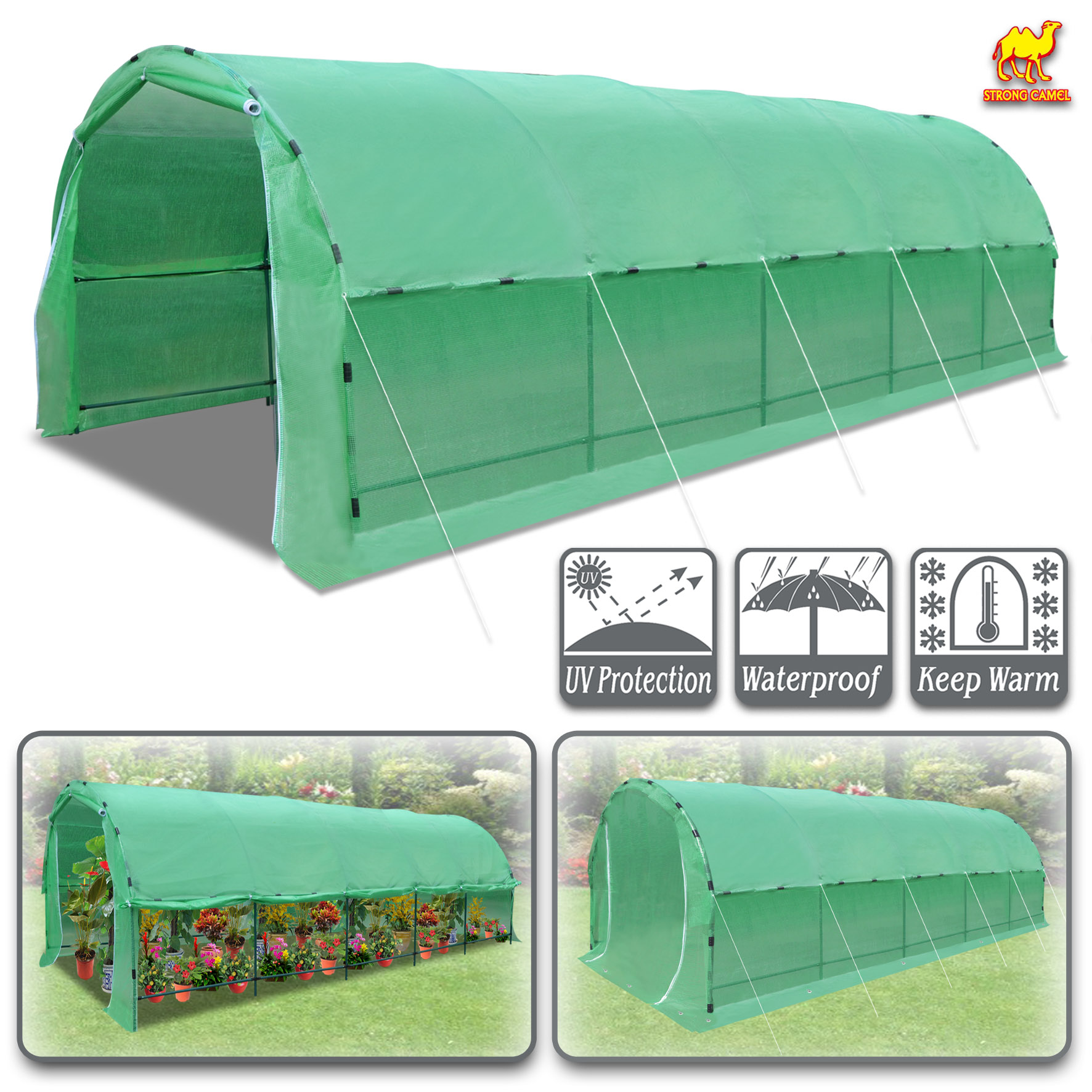 Strong Camel Greenhouse 24.6' X10' X 7' Portable Walk In Outdoor Plant Gardening Hot Green House with ABS Snap Clamp