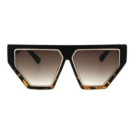 Womens Retro Flat Top Futuristic Mod Squared Cat Eye Sunglasses Black Tortoise Brown