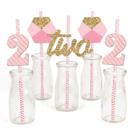 Girls Birthday Party Decor (Two Much Fun - Girl - 2nd Birthday - Paper Straw Decor - Birthday Party Striped Decorative Straws - Set of)