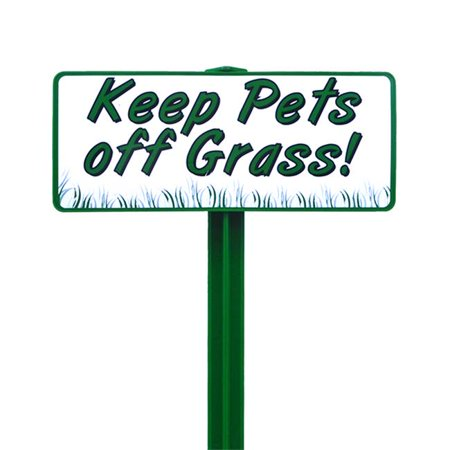 EverMark SSKT01-05 Keep Pets Off Grass Sign with Forest Green Stake