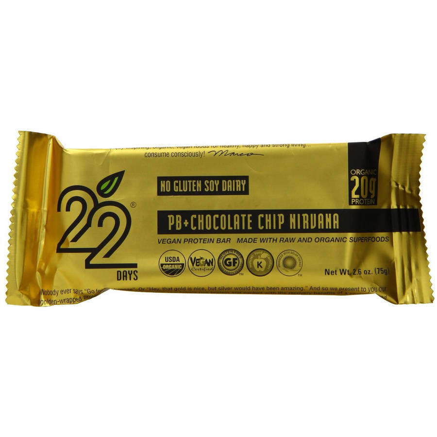 Image of 22 Days Peanut Butter + Chocolate Chip Nirvana Vegan Protein Bars, 2.6 oz, 12 count