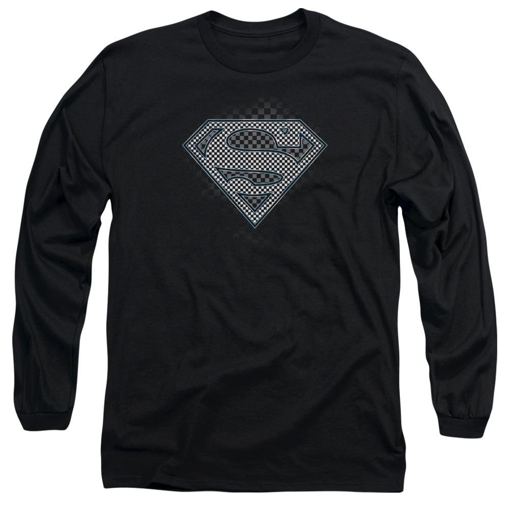 SUPERMAN/CHECKERBOARD - L/S ADULT 18/1 - BLACK - MD