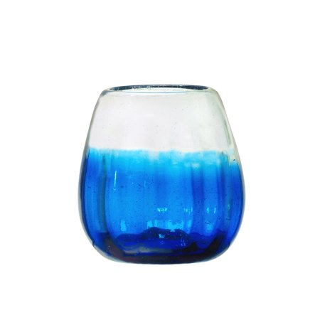 Rosa Stemless Wine Glass, Optic Ombre Cobalt, Set of 4, 16 oz