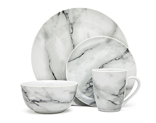 16-Piece Carrera Natural Marble Design Porcelain Dinner Dinnerware Dining Set with Service for 4  sc 1 st  Walmart.com & 16-Piece Carrera Natural Marble Design Porcelain Dinner Dinnerware ...