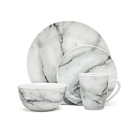 (16-Piece Carrera Natural Marble Design Porcelain Dinner Dinnerware Dining Set with Service for 4)