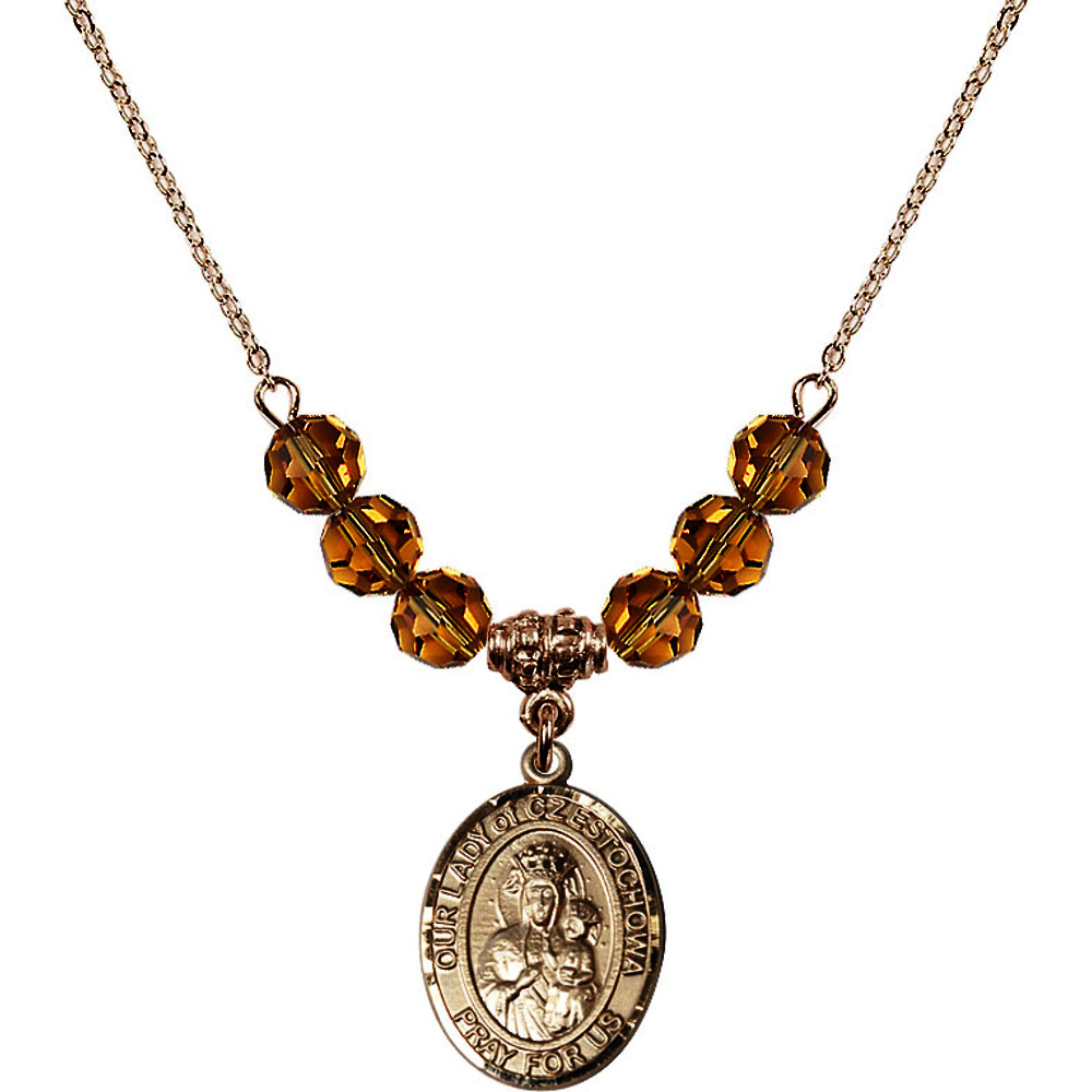 18-Inch Hamilton Gold Plated Necklace with 6mm Yellow November Birth Month Stone Beads and Our Lady of Czestochowa Charm by