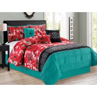 11-Pc Sachi Tree Branches Silhouette Leaves Birds Floral Damask Comforter Curtain Set Turquoise Blue Red Black Queen