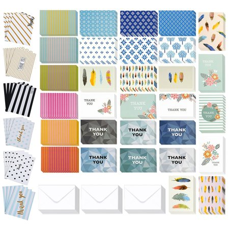 144 Pack Thank You Cards - Thank You Greeting Cards Bulk Box Set - Thank You Note Cards All-Occasion Thank You Notecard Set - Includes 36 Assorted Design Note Cards and White Envelopes, 4 x 6