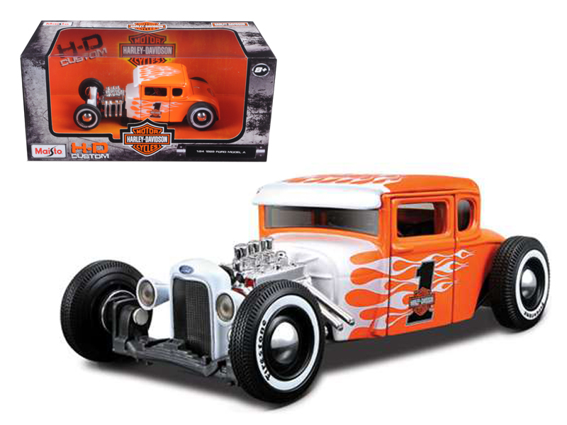 1929 Ford Model A Harley Davidson Orange With Flames #1 1 24 Diecast Model Car by Maisto by Maisto