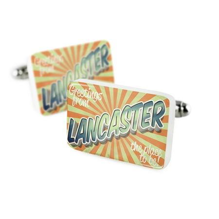 Lancaster Cufflinks - Cufflinks Greetings from Lancaster, Vintage PostcardPorcelain Ceramic NEONBLOND
