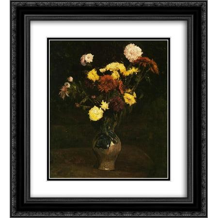 Vincent van Gogh 2x Matted 20x24 Black Ornate Framed Art Print 'Basket of Carnations and Zinnias '