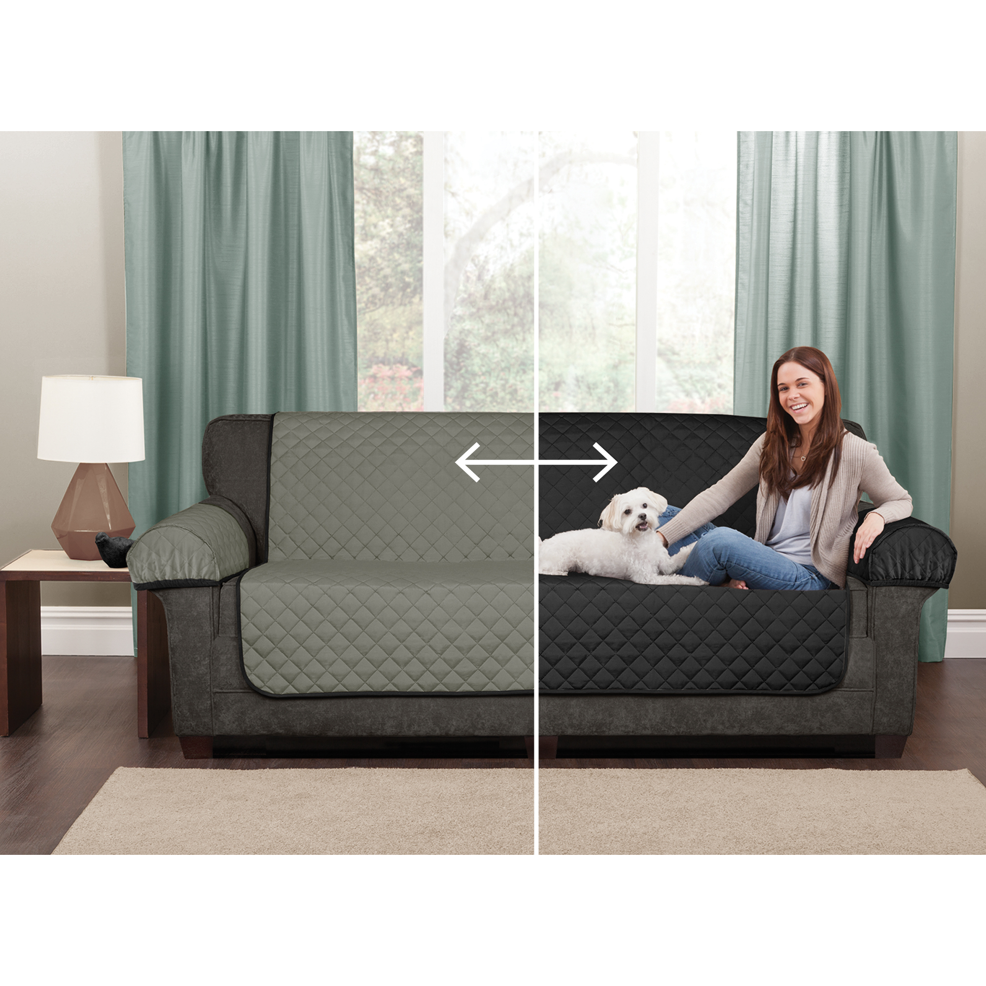 Maytex Reversible 3 Piece Microfiber Sofa Furniture Cover