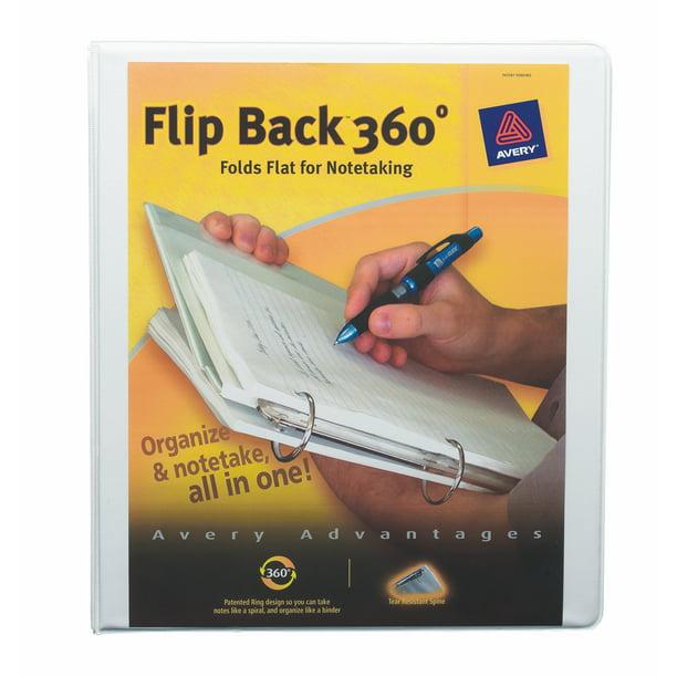 "Avery Flip Back 360° Binder, 1"" Ring, White, 175 Sheets"