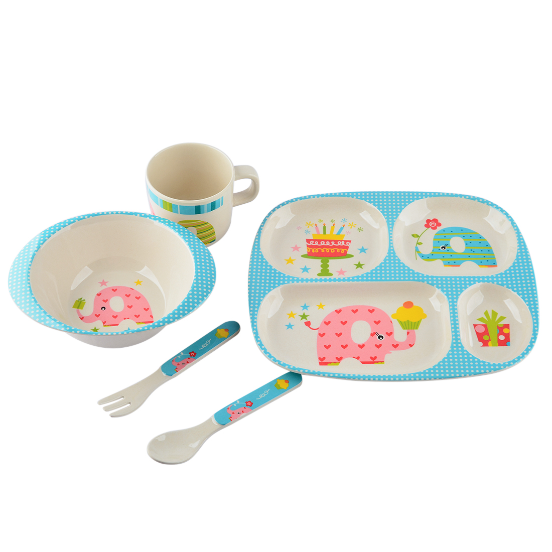 Baby Kids Dinnerware Set Bamboo Fiber Children Meal Tray Set Lovely Cartoon Dish Soup Bowl Cup Spoon Fork... by YONGZHEXINNIC