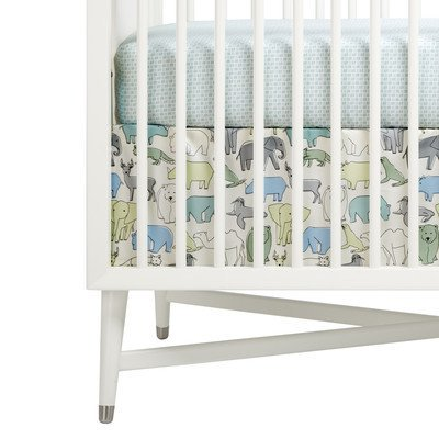 Dwell Studio Sham - DwellStudio Caravan Crib Skirt - Caravan, Pistachio, haze blue and gray pattern on a snow white ground. By Dwell Studio