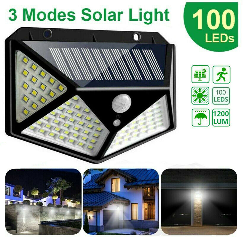 100 LED Solar Power Light PIR Motion Sensor Garden Wall HOT Lamp Waterproof Q1K3