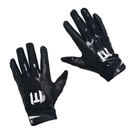 EliteTek E-17 Football Gloves Youth & Adult (black, Adult Medium) ()