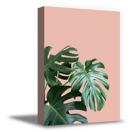 Awkward Styles Palm Leaves Canvas Art Green Plants Canvas Decor Inspirational Canvas Prints for Office Pink Foliage Decor Green Grass Inspirational Vinyl Art Beautiful Nature Art Home Decor Ideas
