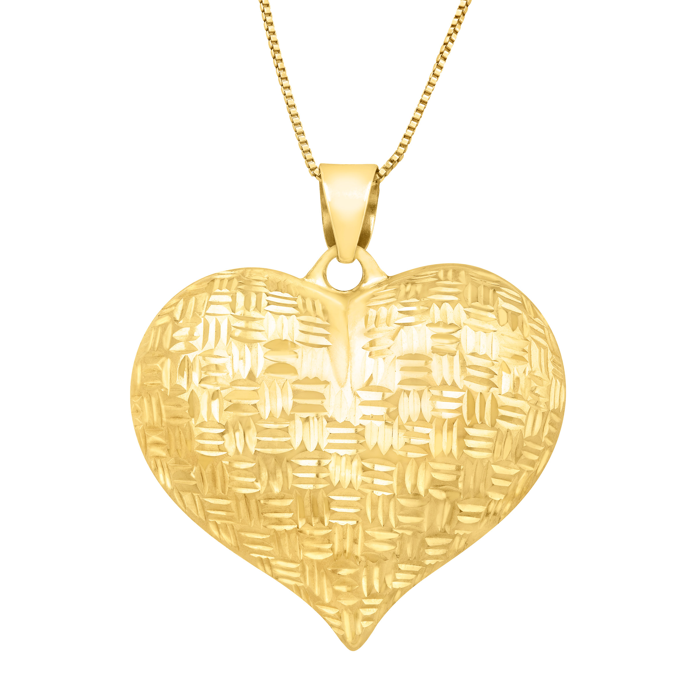 Eternity Gold Puffed Heart Pendant Necklace in 14kt Gold