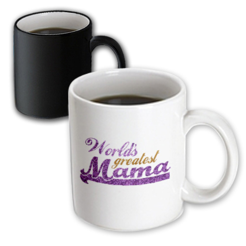 3dRose Worlds Greatest Mama - purple and gold text - Gifts for best moms - good for Mothers day - Ma, Magic Transforming Mug, 11oz