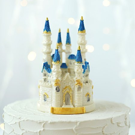 BalsaCircle 4.5-Inch tall White Blue Princess Castle Cake Topper Kids Birthday Wedding Party Event Centerpiece Decorations Supplies ()