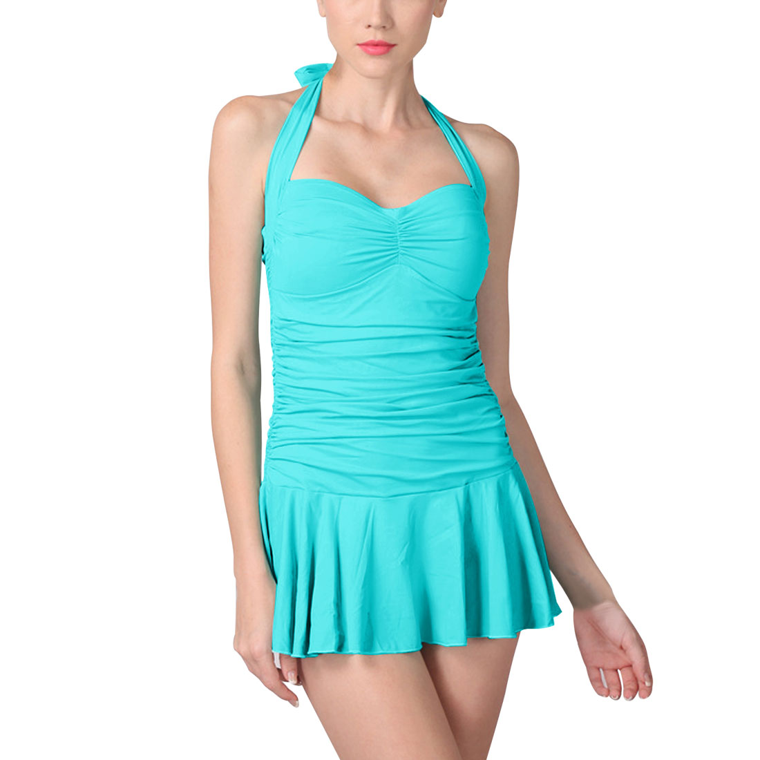 Women One-Piece Slim Vintage Shirred Swimwear Dress US 10 Bathing Suit