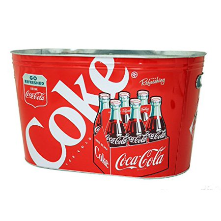 The Tin Box Company 770487 Coca Cola Large Galvanized Party Tub with Handles