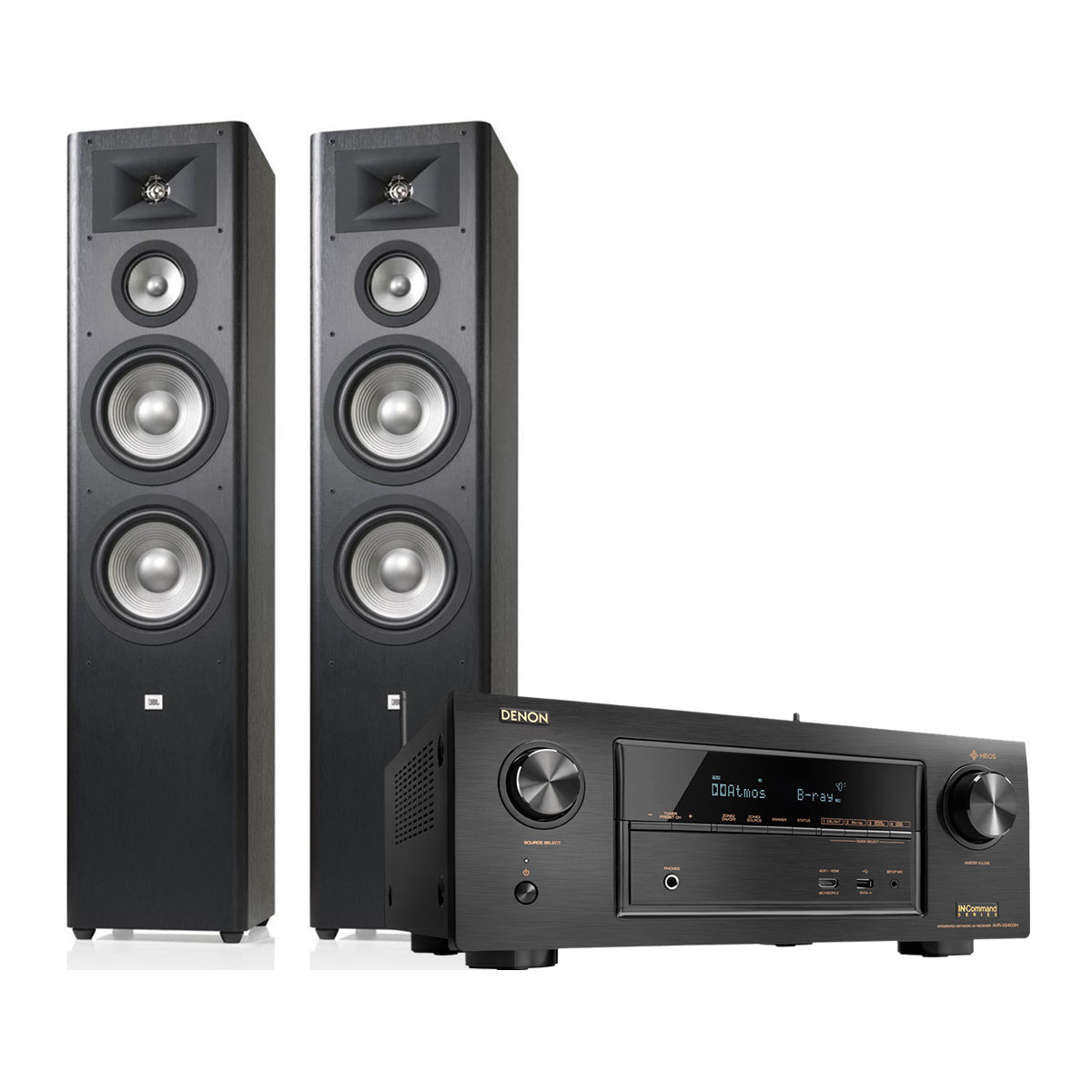 Denon AVR-X3400H Ultra HD Network AV Receiver with JBL Studio 290 3-Way Floorstanding Speakers Pair (Black) by Denon