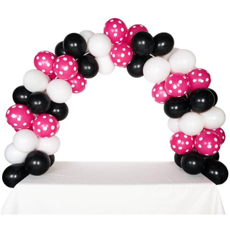 Celebration Tabletop Balloon Arch, Black White and Hot Rose with White Dots (Hot Pink And Black Balloons)