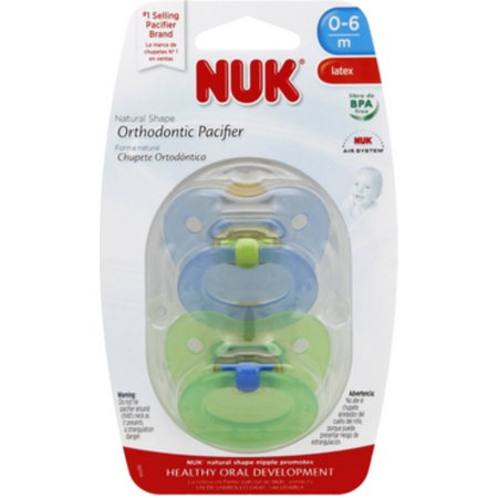 - NUK Natural Shape Orthodontic Pacifiers, Latex, 0-6 Months (Assorted Colors) 2 ea
