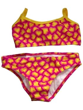 e3098926dd Product Image Little Girls Yellow Fuchsia Heart Printed Cami 2 Pc Bikini  Swimsuit 2T