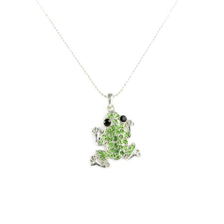 Novelty Adorable Frog Rhinestone Pendant Necklace in Silver Tone