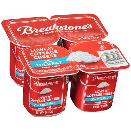 breakstone s 2 milkfat small curd lowfat cottage cheese 4 oz 4 ct rh walmart com cottage cheese cups with fruit cottage cheese custard pie