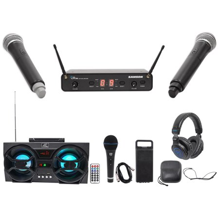 Samson Concert 288 Handheld 2-Ch Wireless Microphone System w/2 Mics+Headphones