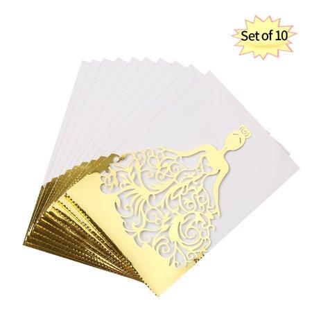 Wedding Invitation Sets (10pcs/set Wedding Invitation Cards Pearl Paper Hollow Bride Pattern Invitation Cards for Wedding Anniversary Engagement--Gold +)