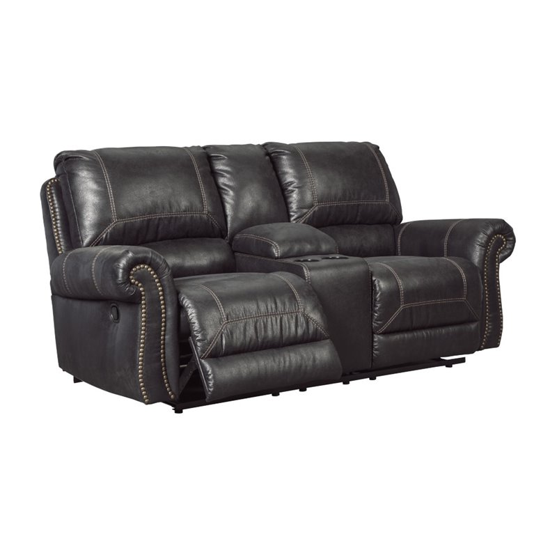 Ashley Milhaven Double Reclining Faux Leather Loveseat in Black by Ashley Furniture