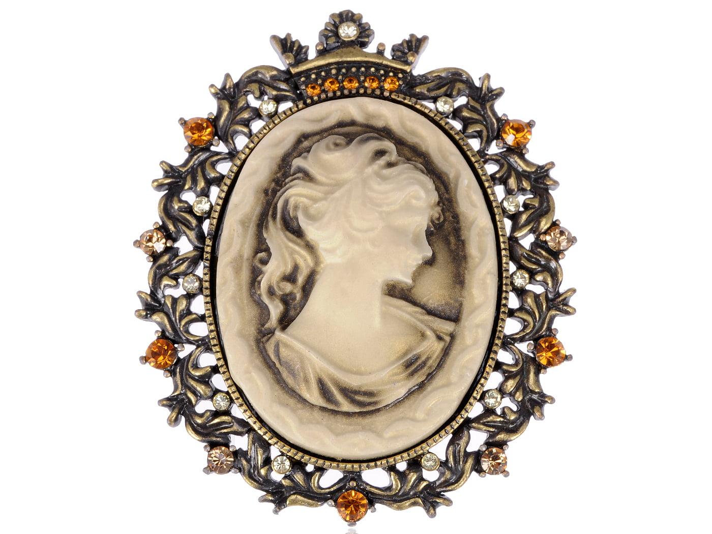 Princess Portrait Cameo Maid Vintage Gift Topaz Crystal Rhinestone Pin Brooch by