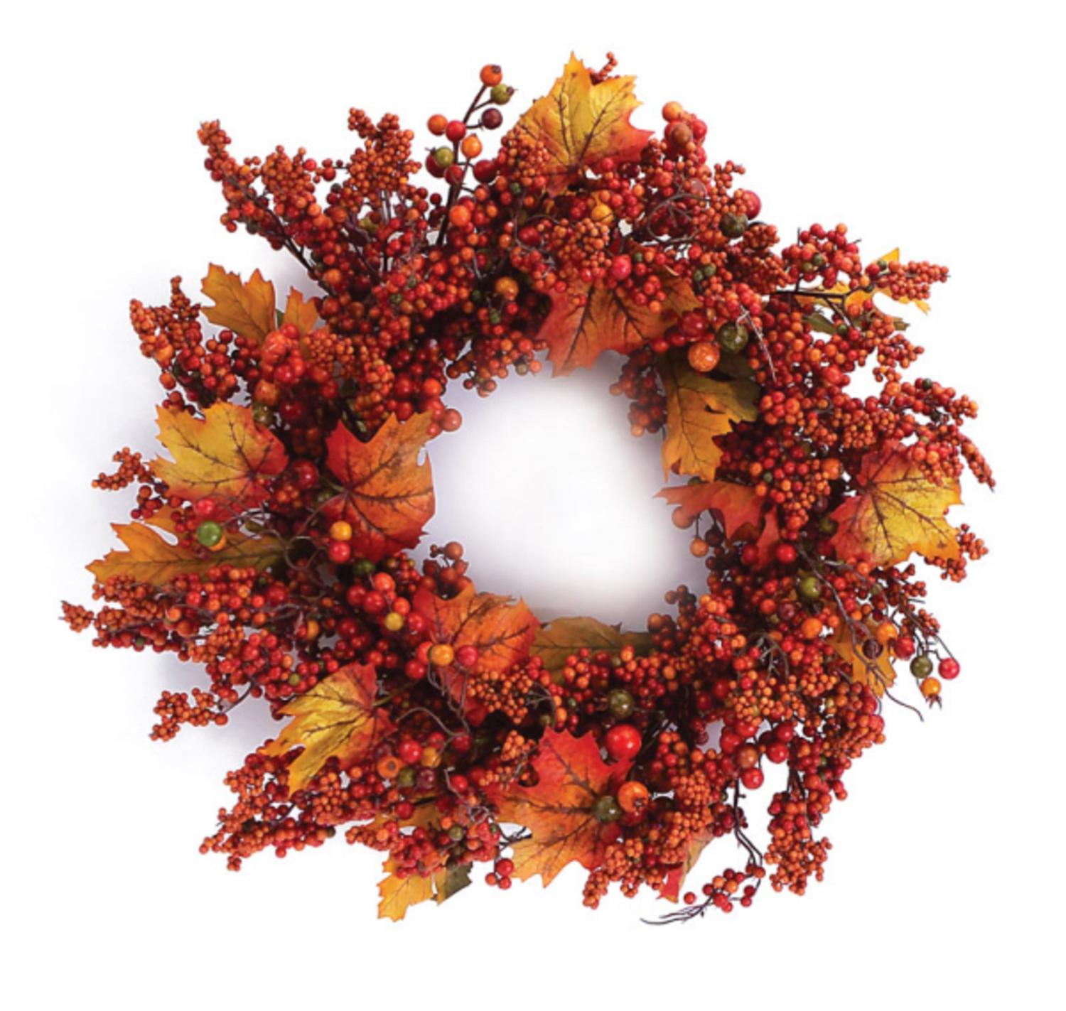 "24"" Autumn Harvest Mixed Berry and Maple Leaf Artificial Wreath"