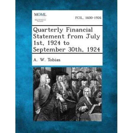 Quarterly Financial Statement From July 1St  1924 To September 30Th  1924