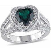 3-5/8 Carat T.G.W. Created Emerald and Created White Sapphire Sterling Silver Halo Heart Engagement Ring