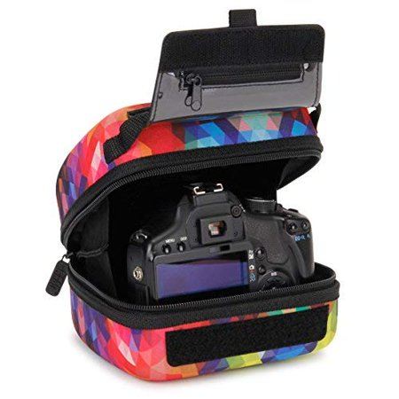 USA Gear Quick Access DSLR Hard Shell Camera Case (Geometric) w/ Molded EVA Protection, Padded Interior, Holster Belt Loop and Rubber Coated Handle - Works W/ Nikon, Canon, Pentax, Olympus and (Best Quick Access Camera Bag)
