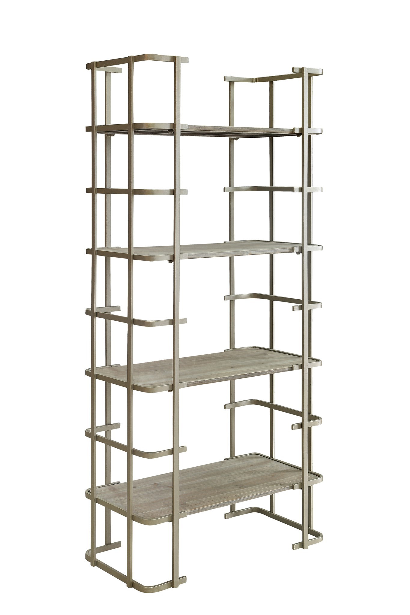 Ava Silver Metal and Driftwood Etagere by Crestview Collection