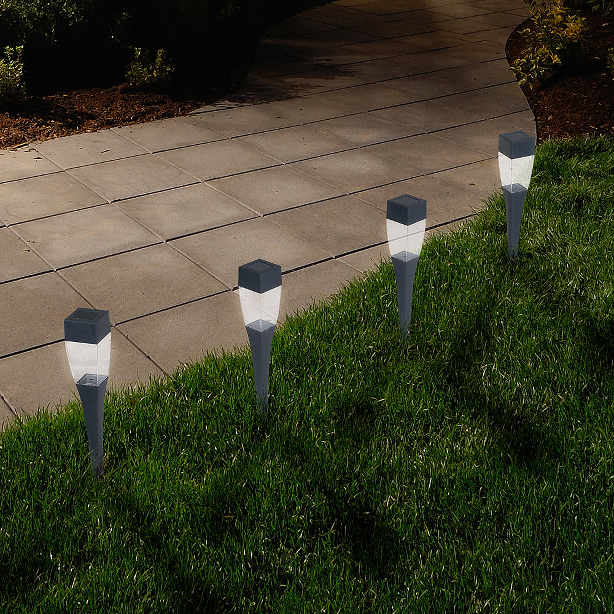 Pure Garden LED Solar Modern Pathway Lights, Set of 24