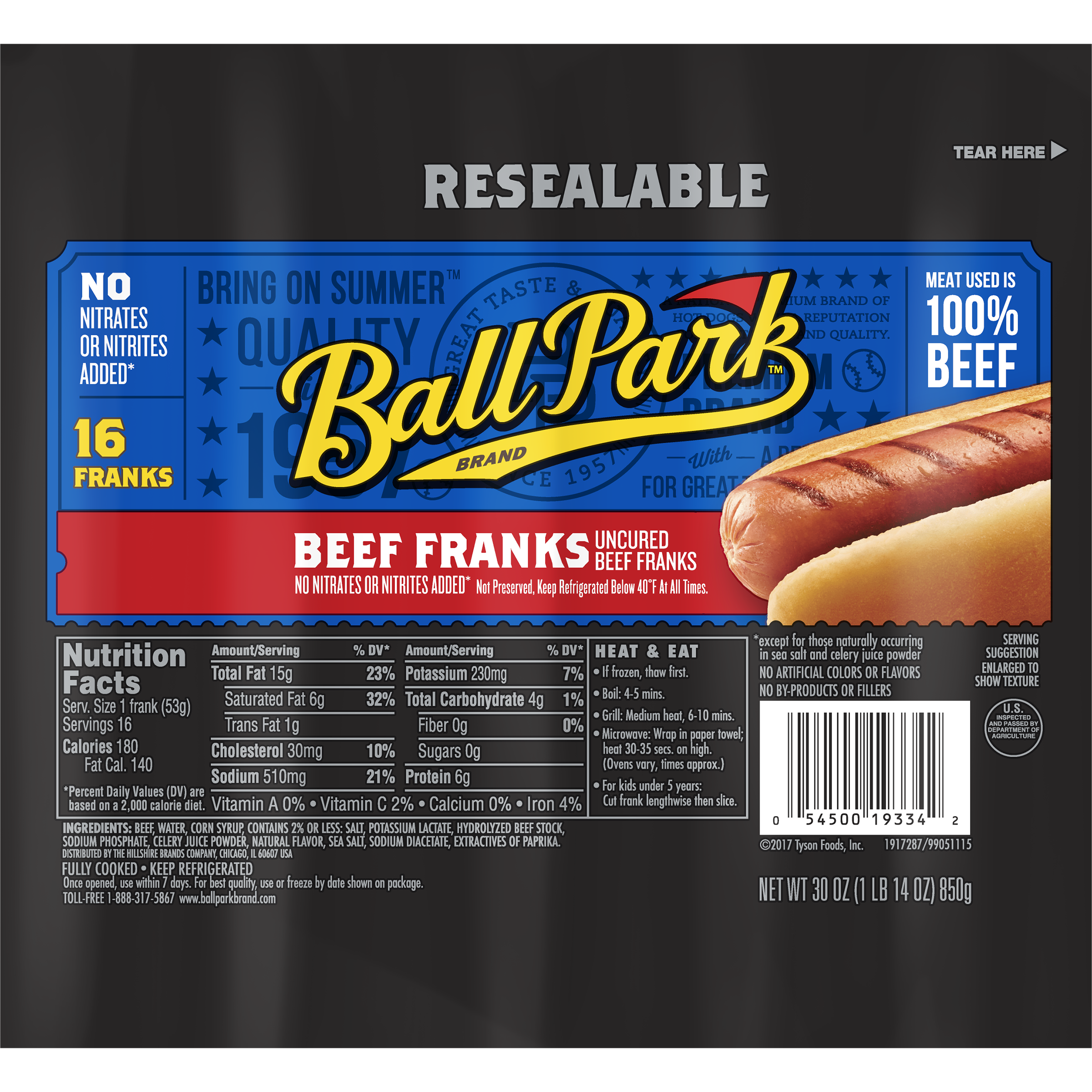 Ball Park® Beef Franks, Original Length, 16 Count (Family Pack)