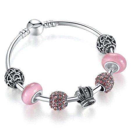 Pink Crystal Heart (ON SUPER SALE - Queen of Hearts Pink Crystal Silver Bangle Bracelet)