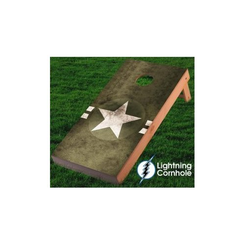 Lightning Cornhole Military Star Cornhole Board Wrap (Set of 2) by
