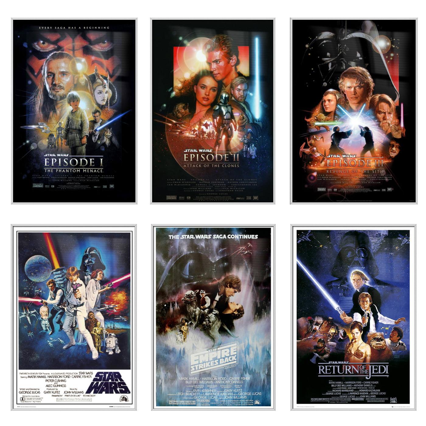 "Star Wars: Episode I, II, III IV, V & VI - 6 Piece Movie Poster / Print Set (Regular Styles 1) (Size: 24"" x 36"" each)"